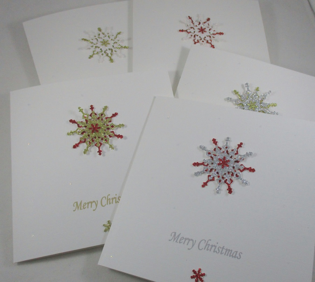 Plain and Simple Snowflake Christmas Cards, PACK of 5,Personalise