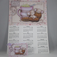 Handmade  Wall Calendar, mouse, chocolate 2018,decoupage,3D