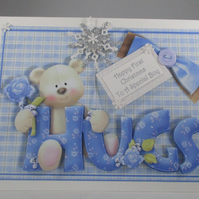 First Christmas Cute Bear Greeting Card, baby boy,grandson,son, 3D,Personalise