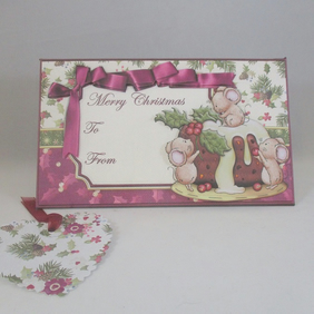 Handmade Christmas Money, Gift Card Wallet ,CuteMice,Christmas Pudding