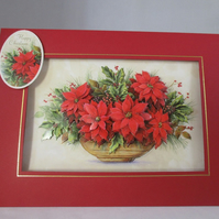 Decoupage Christmas Poinsettia Card,Personalise,Handmade,