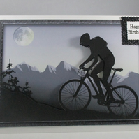 Decoupage,3d Silhouette Cyclist Birthday Card, Personalise