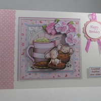 Decoupage,3d Cute Mice Birthday Card, Coffee break,personalise