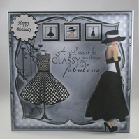 Decoupage,3D,large birthday card,elegant lady,black and white,personalise