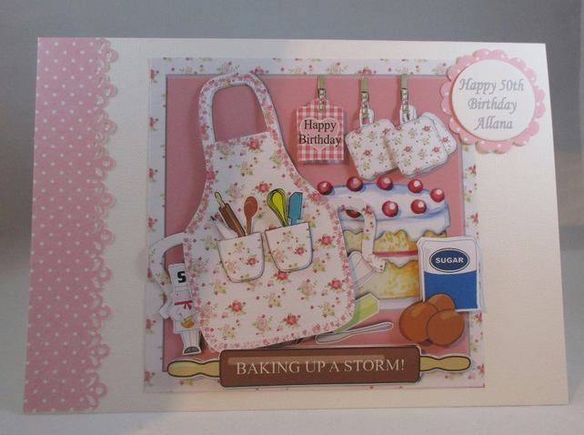 Decoupage,3d Baking Birthday Card,personalise