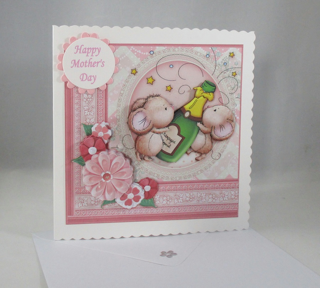 Mothers Day, cute mice greeting card,champagne,3D, Decoupage
