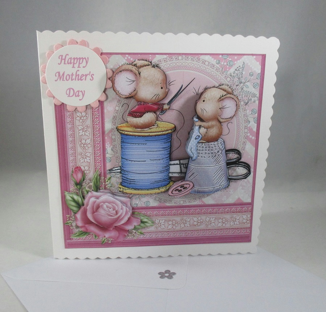 Mothers Day, cute mice greeting card,sewing,3D, Decoupage