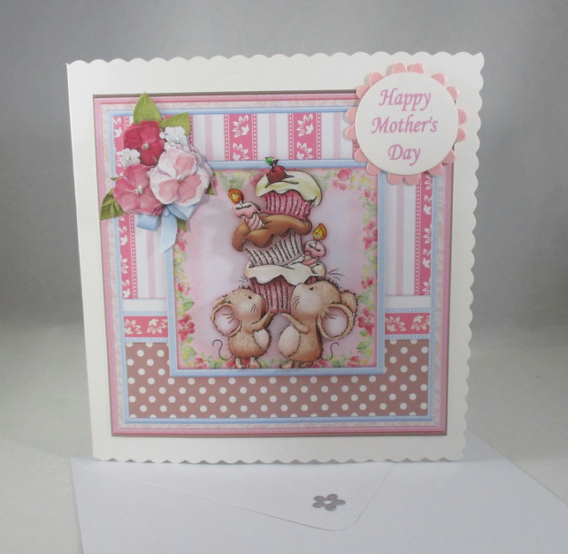 Mothers Day, cute mice greeting card,cup cakes,3D, Decoupage