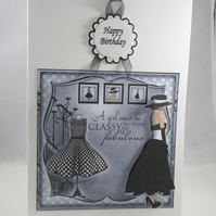 Handmade Decoupage,3D Elegant female birthday card, black and white