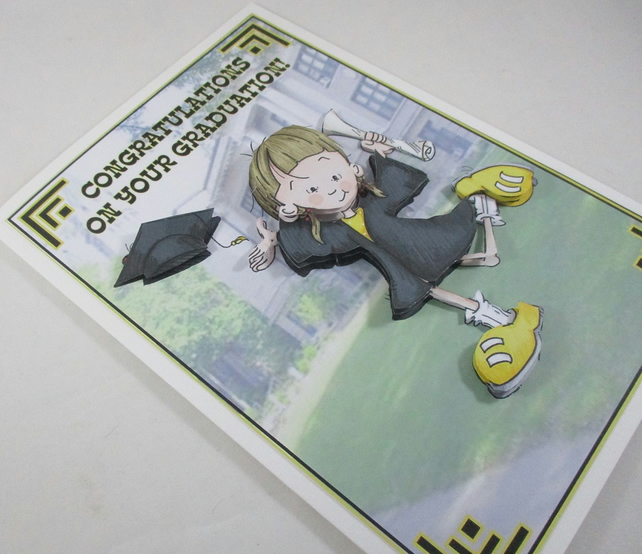Handmade Female Graduation  Card , 3D,Decoupage, personalise