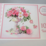 Decoupage  Roses  birthday card,tumbling roses,100 years,Personalise, Handmade