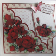 Decoupage, 3D Red Roses Ruby Anniversary Card, Birthday, Mothers Day,