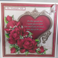 Decoupage, 3D Red Roses Birthday, Anniversary Card for Wife,Personalise