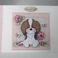 Decoupage,3D Cute Puppy Birthday Card,personalise,handmade