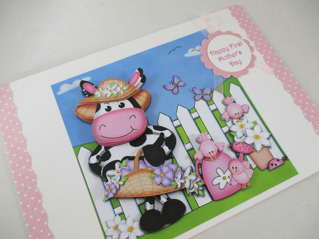Handmade First Mother's Day Cute Cow Card, 3D, Decoupage,Personalise