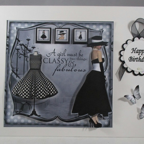 Decoupage,3D, Handmade Fashionable Birthday Card, black and white personalise