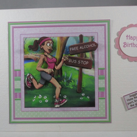 Decoupage,3D, Handmade Female Jogger Birthday Card,Humorous, personalise