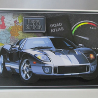 Handmade Silver Blue Sports Car Birthday Card,  3D.Personalise,