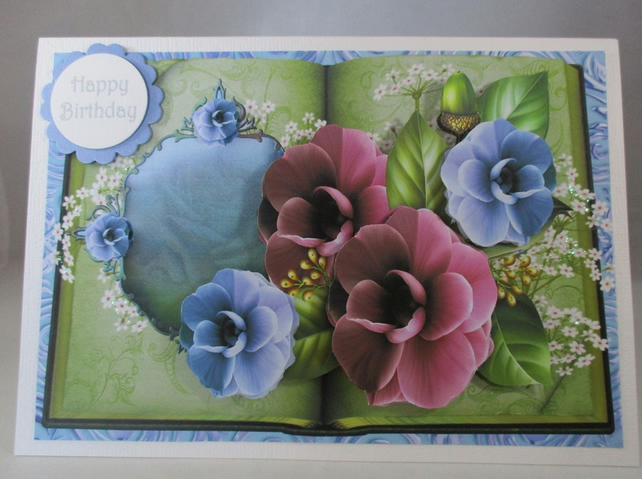 Handmade Decoupage Flower Card,Pansies,Personalise