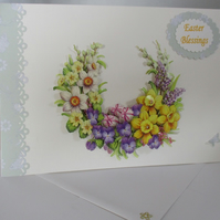 Decoupage,3D, Spring FlowersGreeting Card, Easter,Birthday,Mothers day