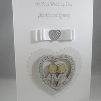 Decoupage Cute Bride and Groom Couple Wedding Card, 3D, Personalised