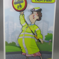 Lollipop Lady greeting Card, any occasion,3D personalise, retirement,birthday