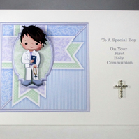 Holy Communion Decoupage Greeting Card for Boy, Diamante cross,rosary beads