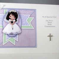 Holy Communion Decoupage Greeting Card for Girl, Diamante cross,rosary beads