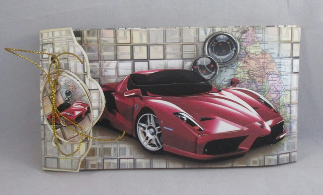 Handmade 3D money wallet envelope, Red sports car