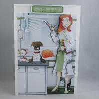 Handmade Personalised 3D Veterinary Surgeon Greeting Card, any occasion