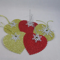 Handmade Christmas Glitter Gift Tags ,Pack of 5, Personalise, Heart, Snowflake