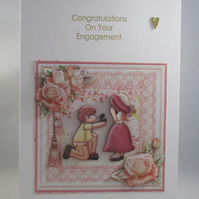 Engagement Card, Cute Couple,on bended knee,Decoupage,3D.Personalise