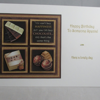 Chocolate Birthday Card, 3D, Personalise,Handmade