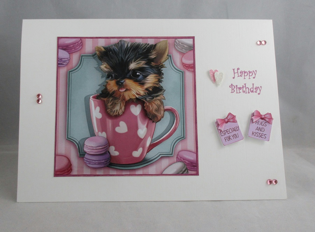 Yorkshire Terrier in a mug Birthday Card, 3d, decoupage,personalise,handmade