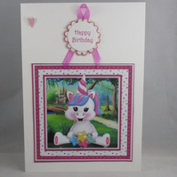 Wobbly Head Unicorn Decoupage 3D Birthday Card,Personalise