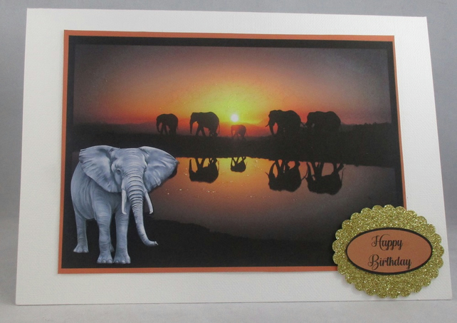 Handmade 3D Elephant, Sunset, Greeting Card,Personalise,