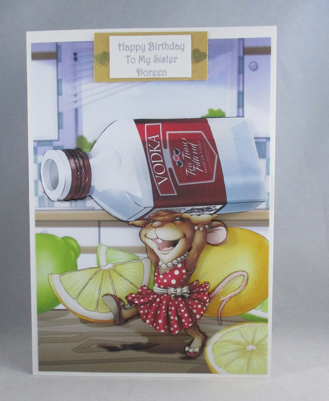 Vodka Mouse, 3D Birthday Card, Personalise, Humorous