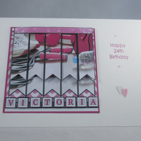 Handmade 3D Ladies Gym Greeting Card, pink,personalise