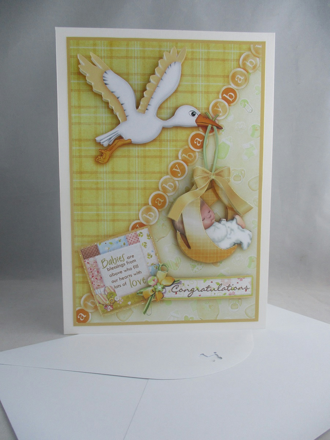 Birth of Baby 3d, decoupage Greeting Card, Stork, neutral colour,personalise