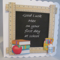 First Day at school Greeting Card,Personalise,3D,Decoupage,retirement,teacher