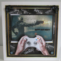 Handmade 3D, Decoupage Boy Computer Games Large Birthday Card, Personalise ,