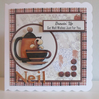 Decoupage, 3D Coffee Greeting Card, Get Well, Birthday,personalise