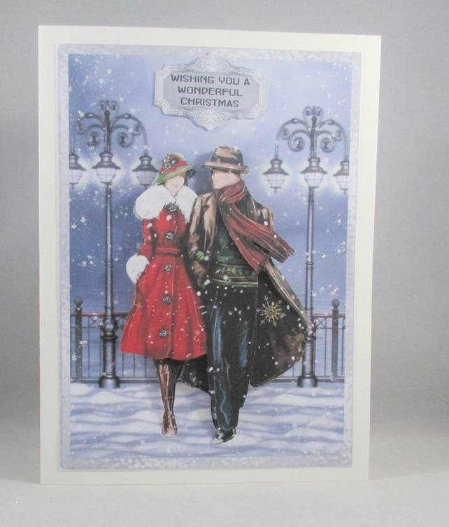 Vintage Couple 3D Decoupage Christmas Card, handmade,personalise,first Christmas