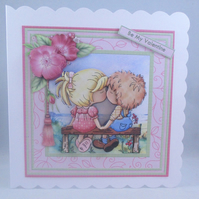 Handmade 3D Valentine Card, cute couple kissing,decoupage,personalise,