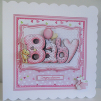 Handmade Decoupage,3D Baby Girl Greetings Card, Personalise,