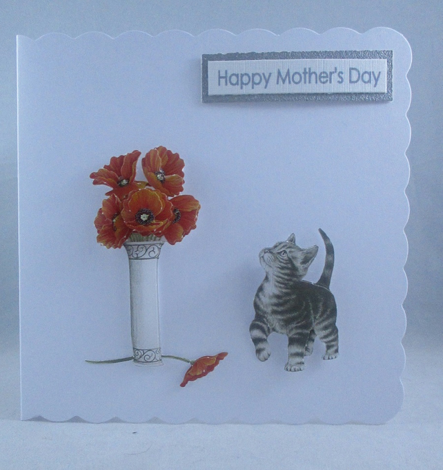 Mothers Day Cute Kitten Greeting Card, 3d, decoupage