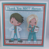 Thank you Greeting Card for NHS Staff, Doctors, Nurses, Decoupage ,3D