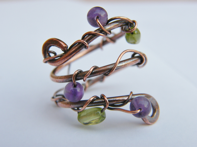 wire wrapped adjustable gemstone ring folksy