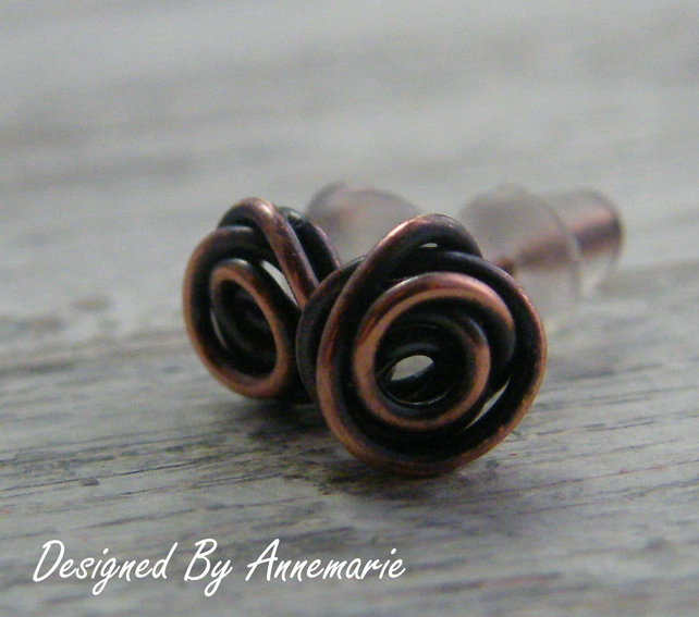 Antique Copper Rose Earrings