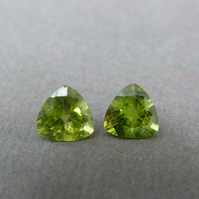 Pair of 7mm Trilliant Cut Peridot